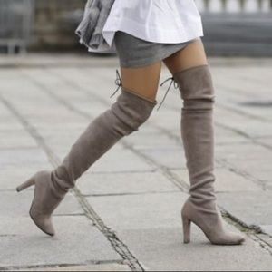 NWOT gray suede over the knee thigh high boot